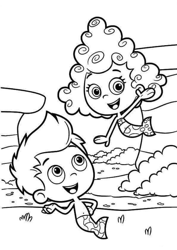 Deema And Gil Bubble Guppies Coloring Page