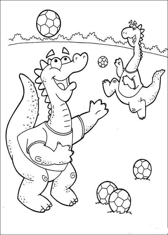 Dragons Playing Soccer Coloring Page
