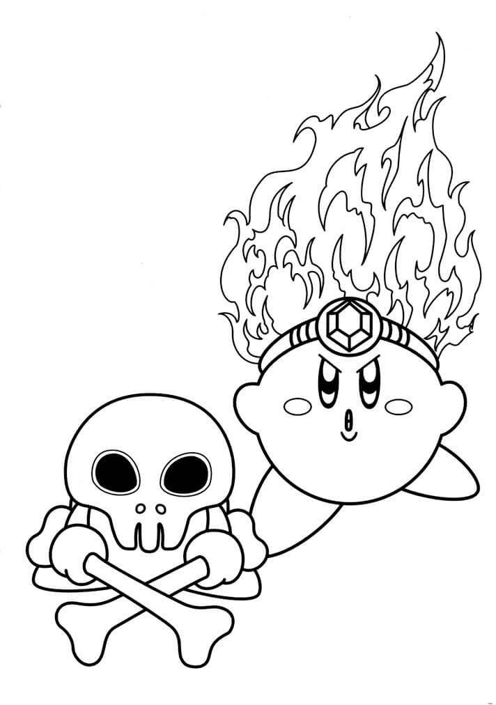 Fire Kirby Coloring Page