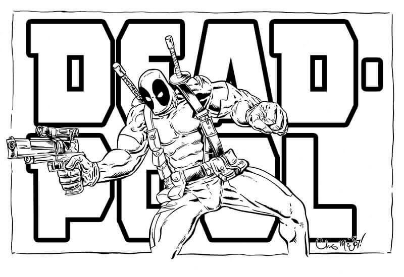 Deadpool Coloring Page: