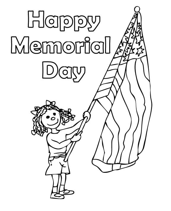 Happy Memorial Day Coloring Pages For Preschoolers