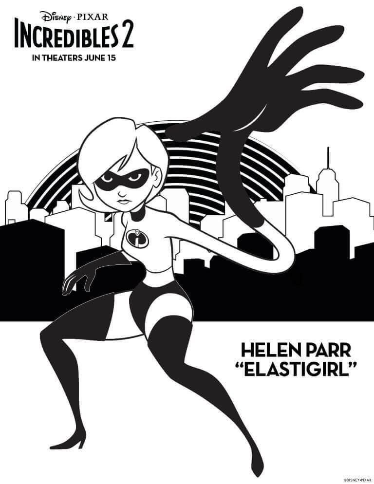Helen Parr Elastigirl Incredibles 2 Coloring Sheet