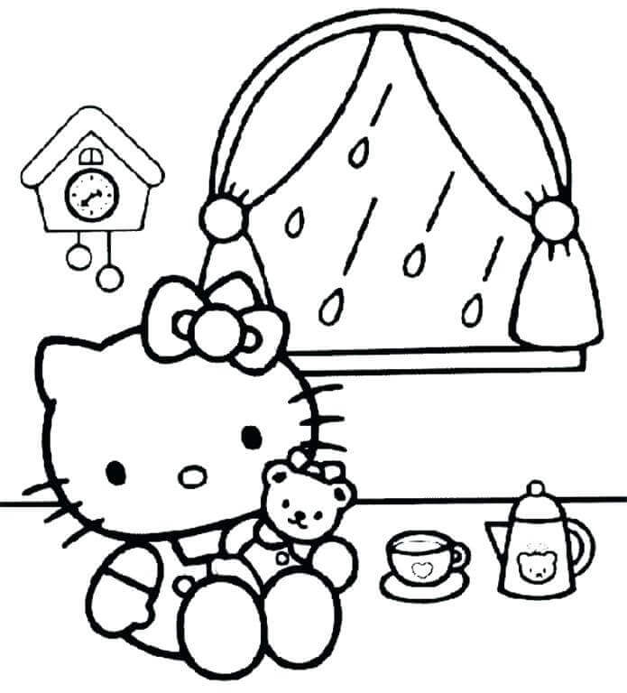 Hello Kitty Rainy Day Coloring Pages Printable