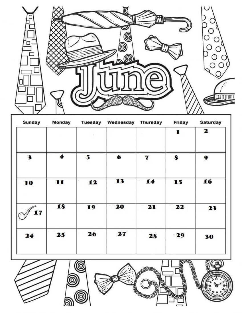 June 2018 Coloring Pages