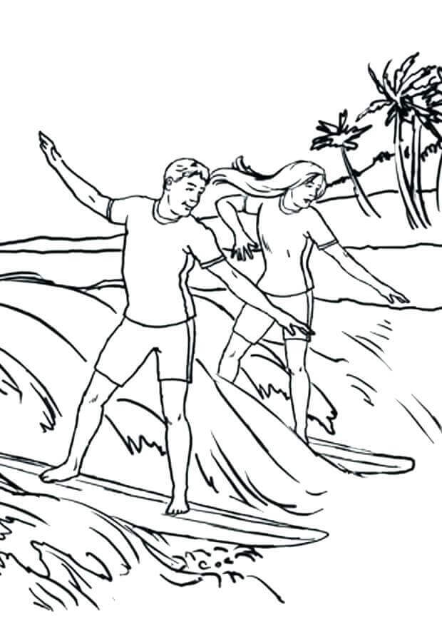 June Surfing Coloring Page
