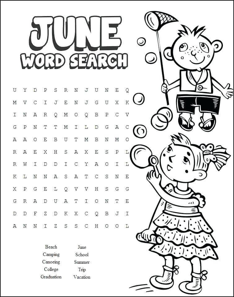 June Word Search Activity Sheets