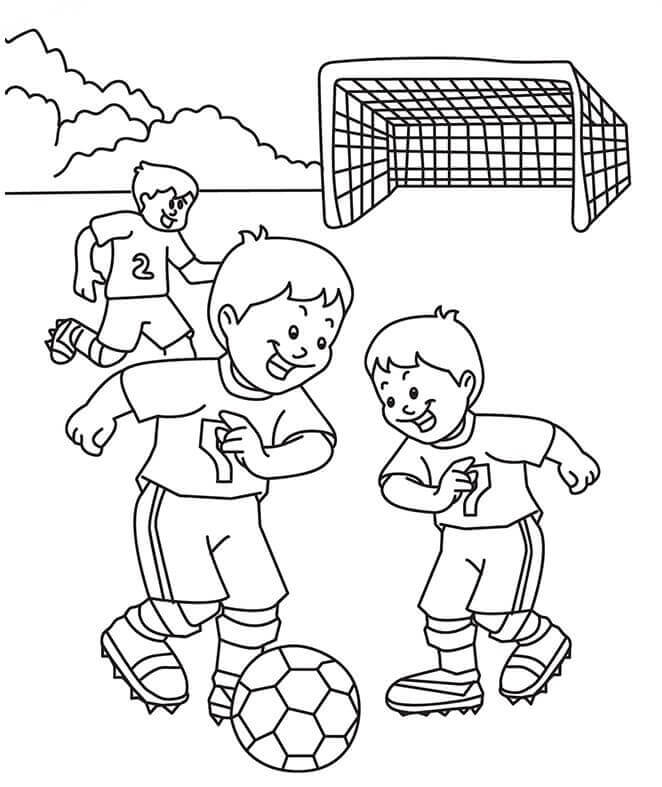 Kids Playing Football Coloring Page