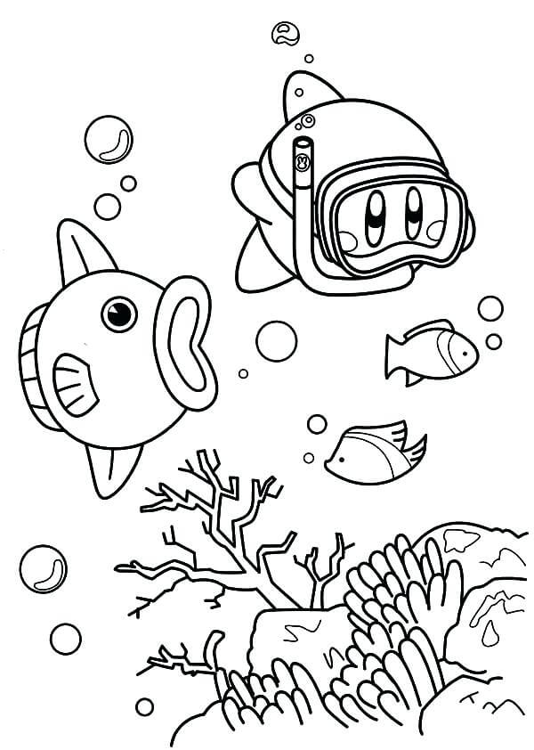 Kirby In Olive Ocean Coloring page