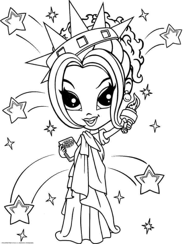 Lisa Frank Glamour Girl As Statue Of Liberty Coloring Page