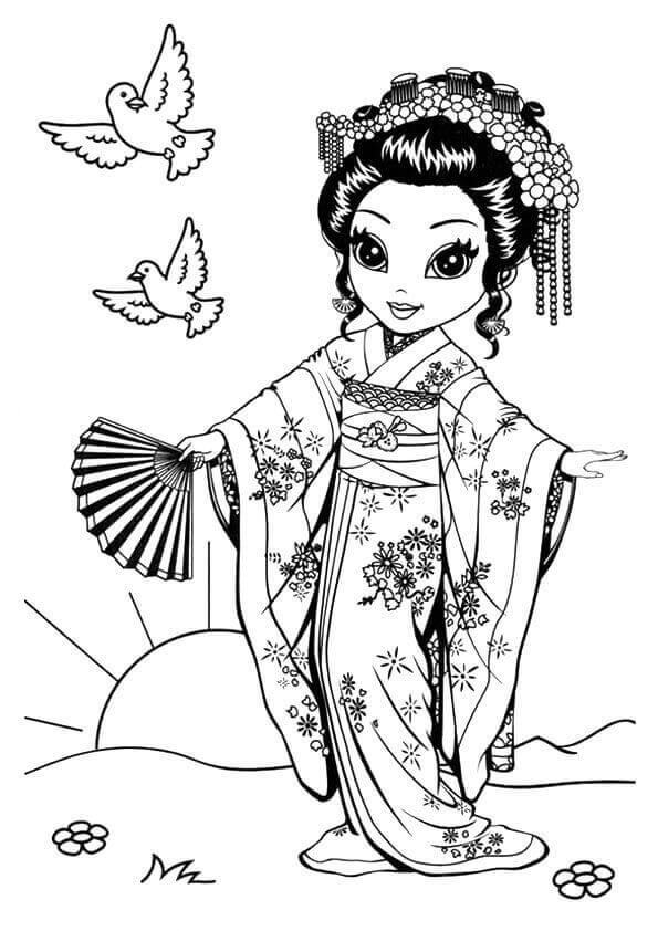 Lisa Frank Japanese Koko Coloring Sheet