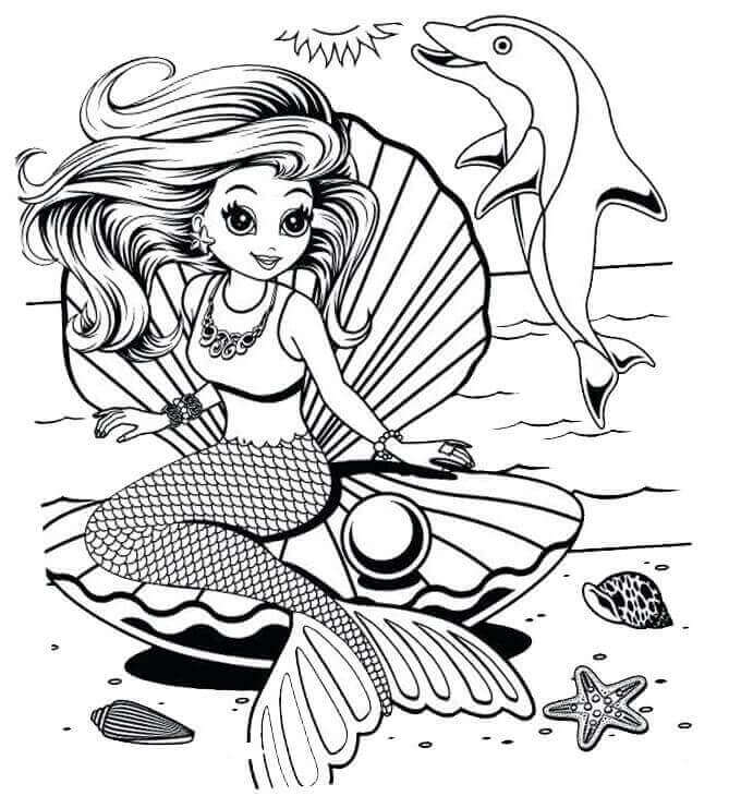 Lisa Frank Mermaid Coloring Page