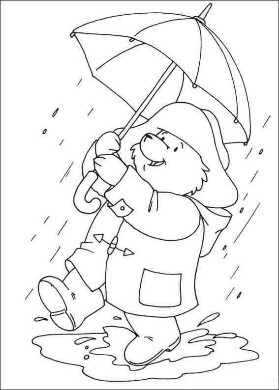 Paddington Bear Enjoying Rainy Day Coloring Page