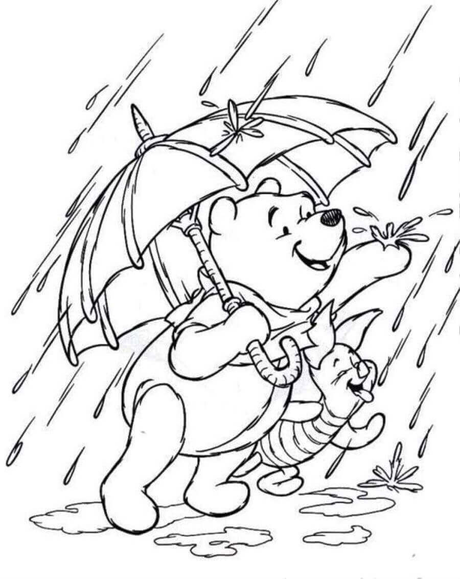Pooh And Piglet Enjoying Rainfall Coloring Picture