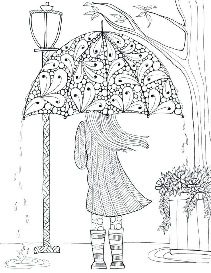 Rainy Day Coloring Pages For Adults