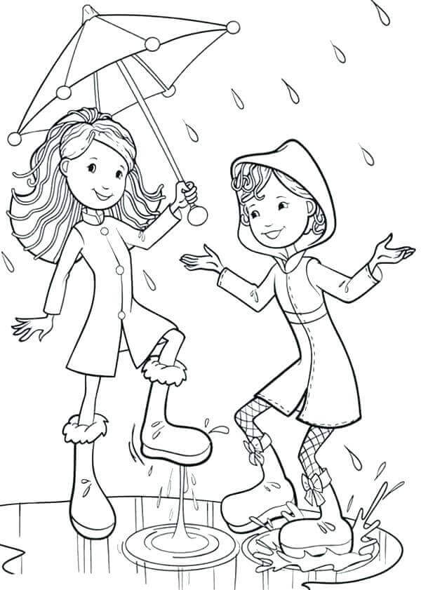 dancing in the rain coloring page 35 free printable rainy day coloring pages 7655