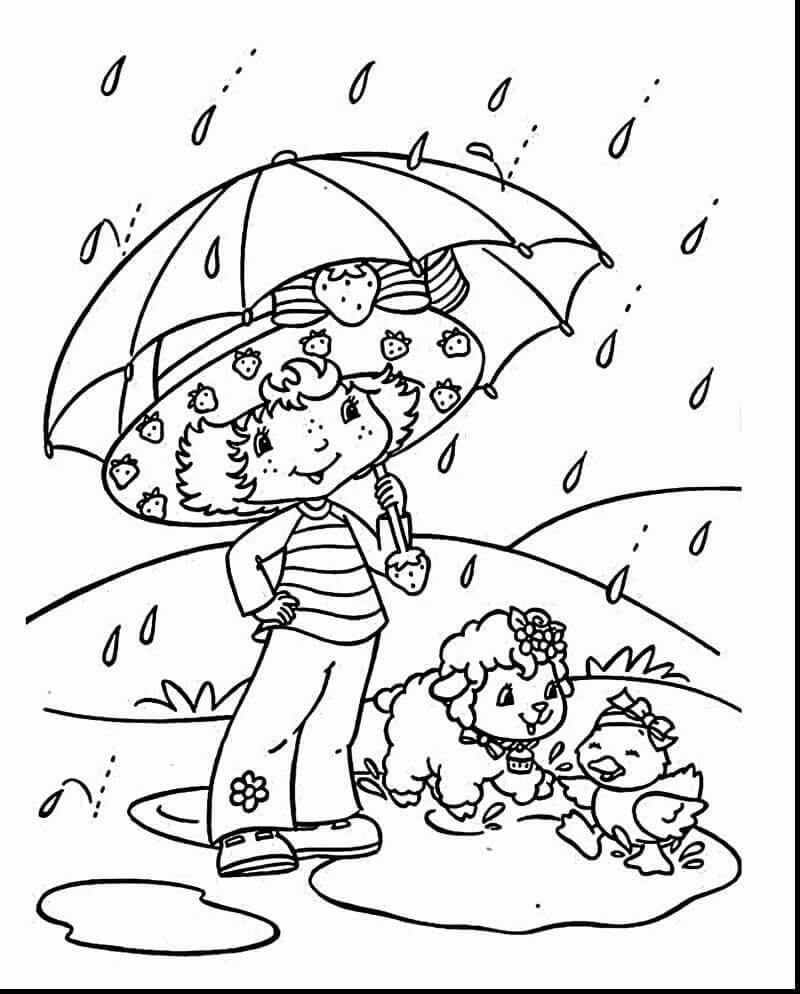 Strawberry Shortcake Rainy Day Coloring Image
