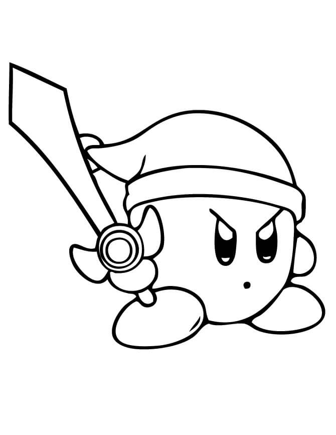 Sword Kirby Coloring Page Printable