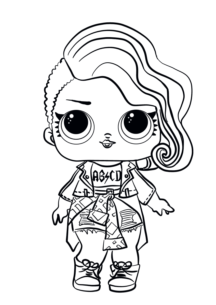 Lol surprise doll coloring pages rocker