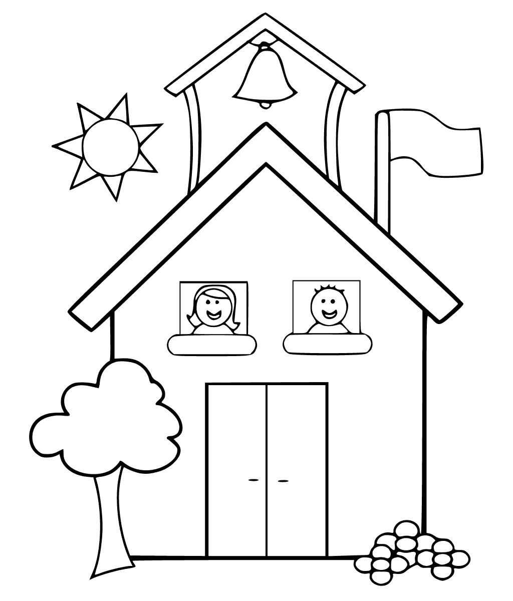 School Building Coloring Pages