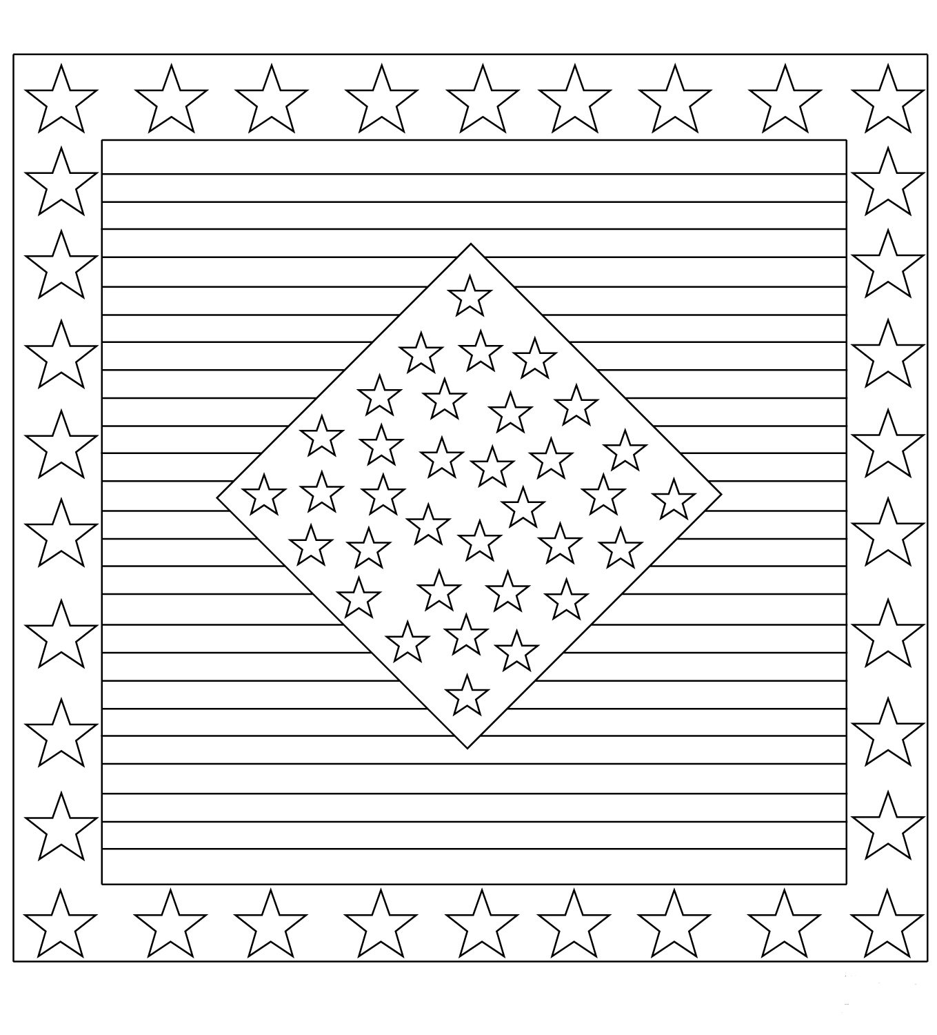 Stars And Stripes Coloring Page
