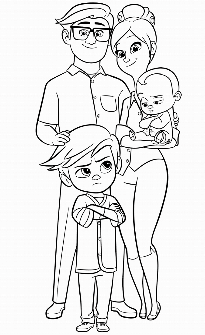 The Boss Baby Templeton Family Coloring Page