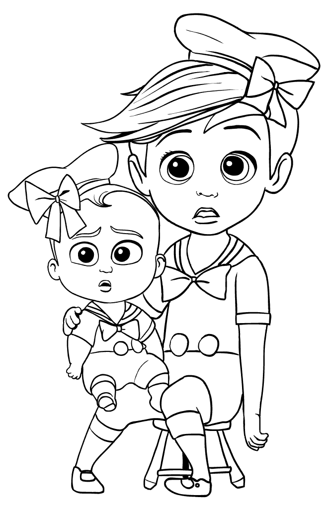 Tim And The Boss Baby Photo Shoot Coloring Image