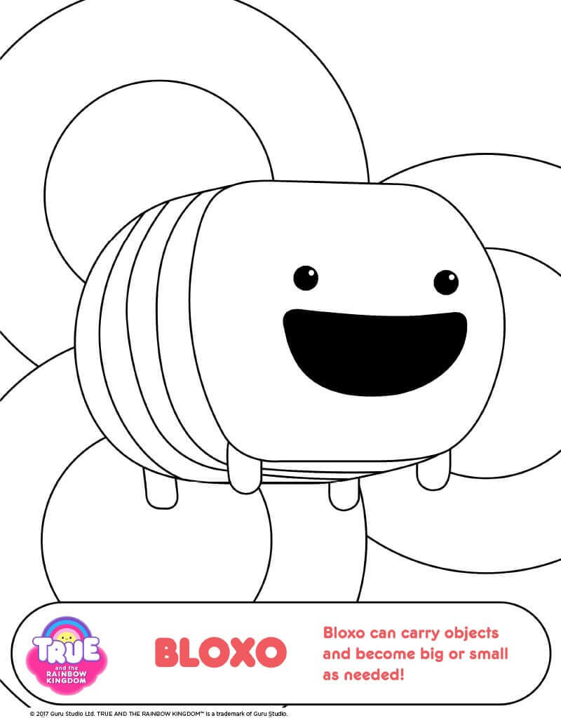 True and The Rainbow Kingdom Colouring Pages Bloxo