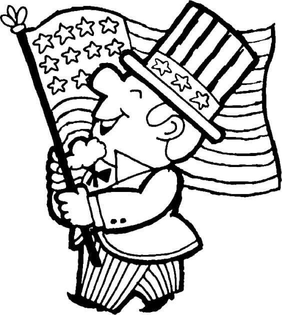 Uncle Sam With American Flag Coloring Page