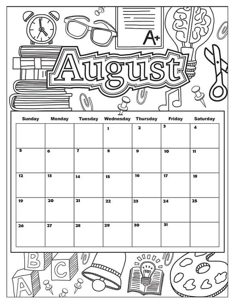 August 2018 Coloring Pages