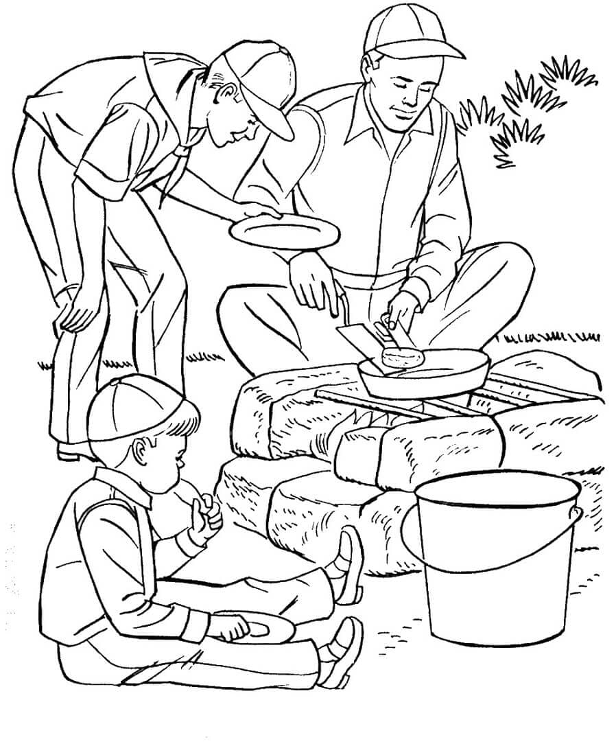 Boys Scout Camping Coloring Pages