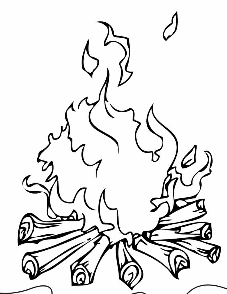 Camp Fire Coloring Page