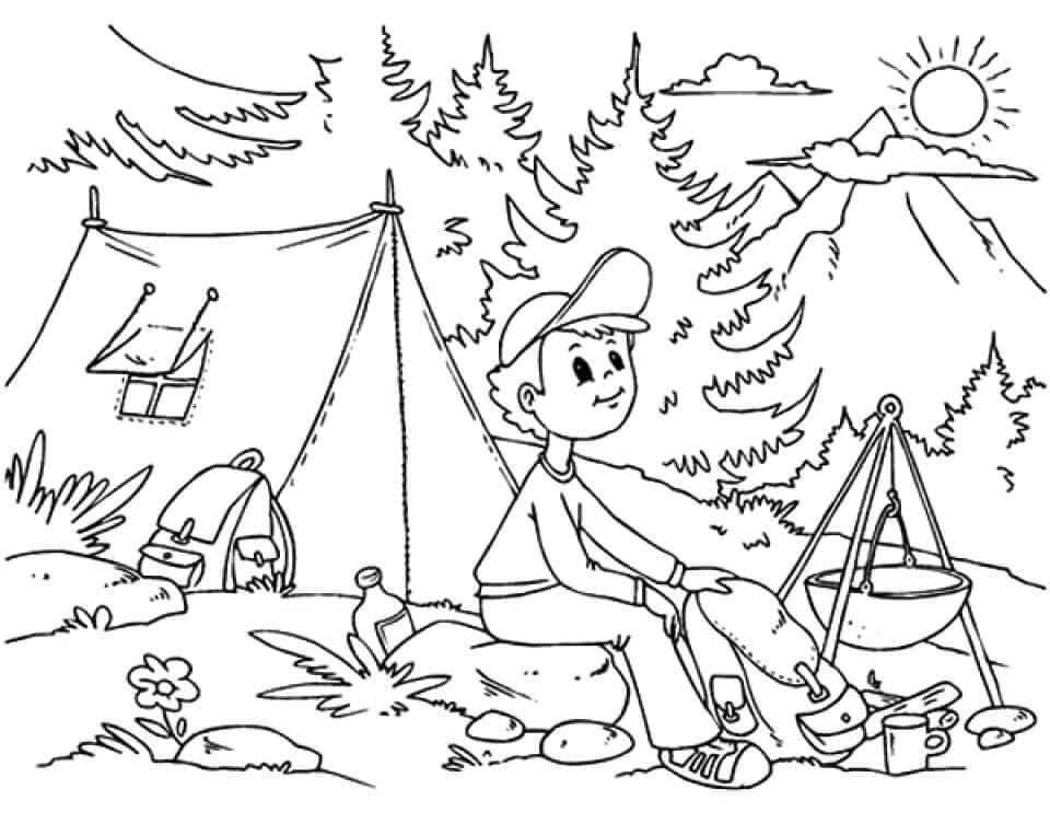 Camping Coloring Pages For Kids