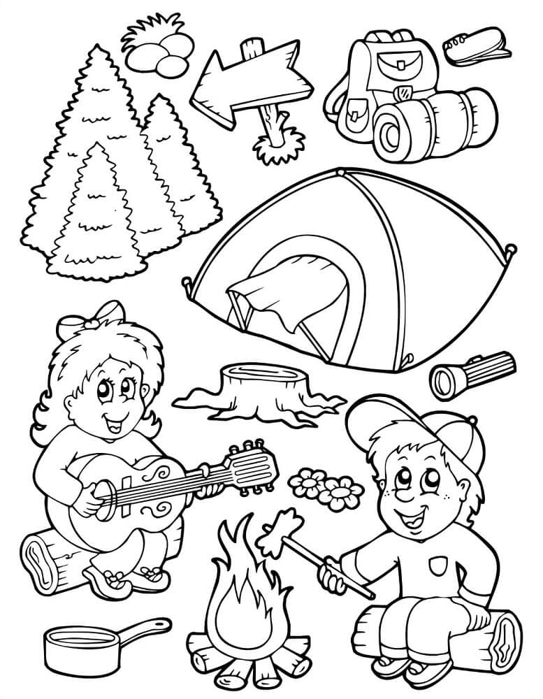 Camping Essentials Coloring Page