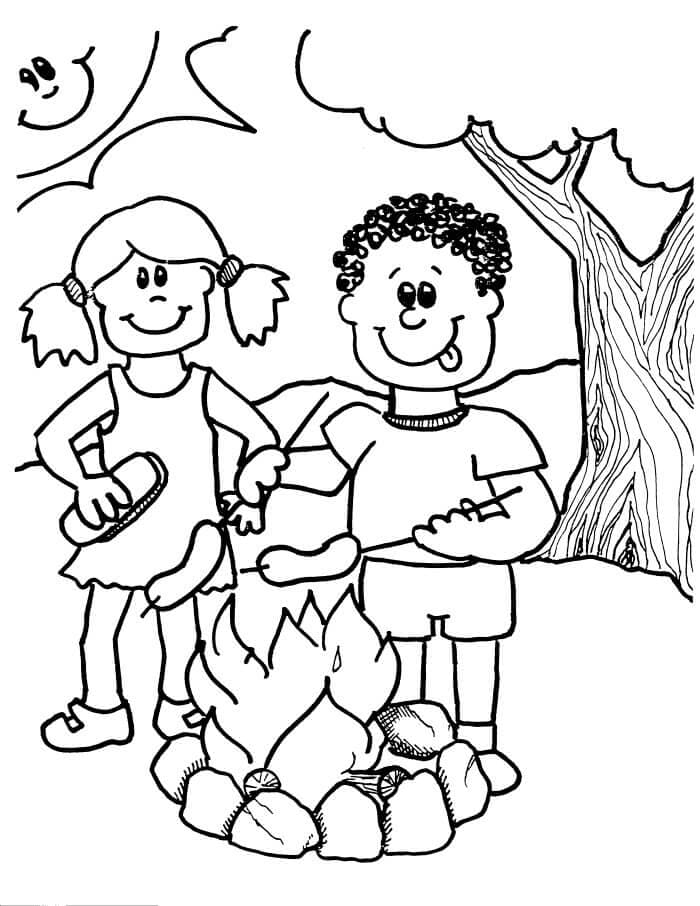 Children Camping Coloring Pages