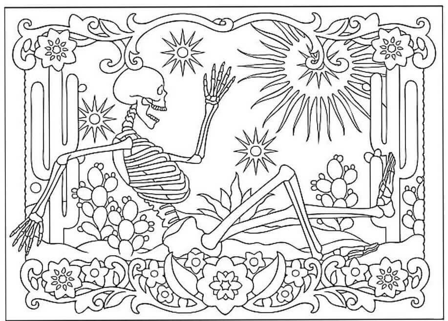 Dia de Muertos Coloring Pages For Adults