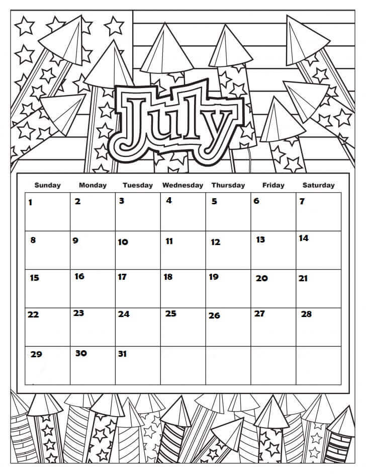 July 2018 Coloring Pages