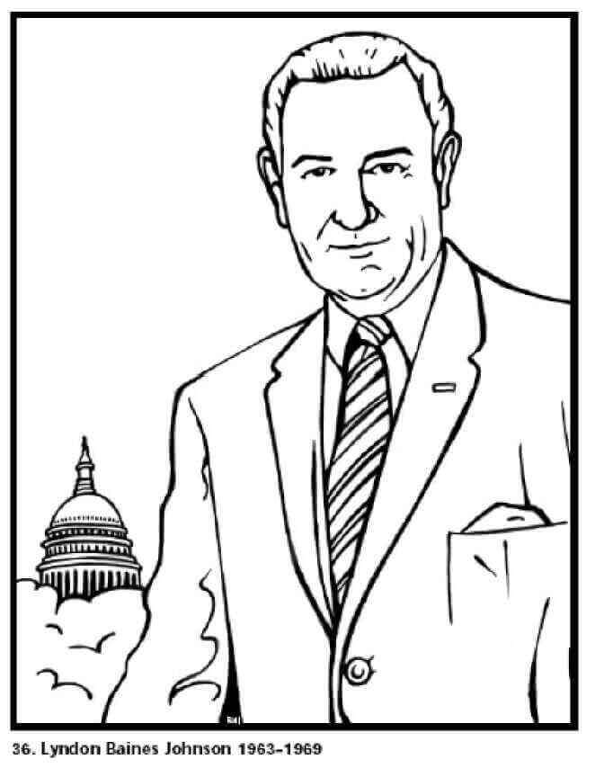 Lyndon Baines Johnson Day Coloring Pages