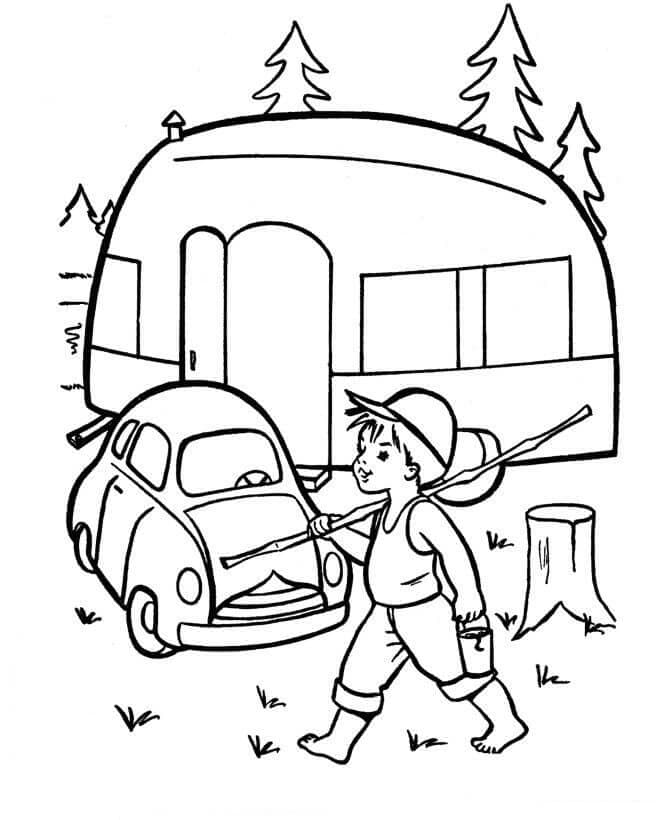RV Camper Camping Coloring Sheets
