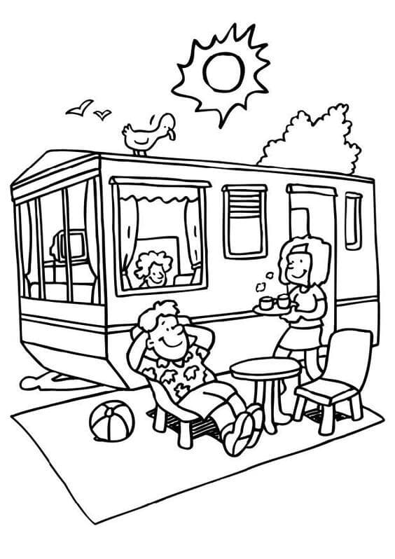 RV Camping Coloring Pages