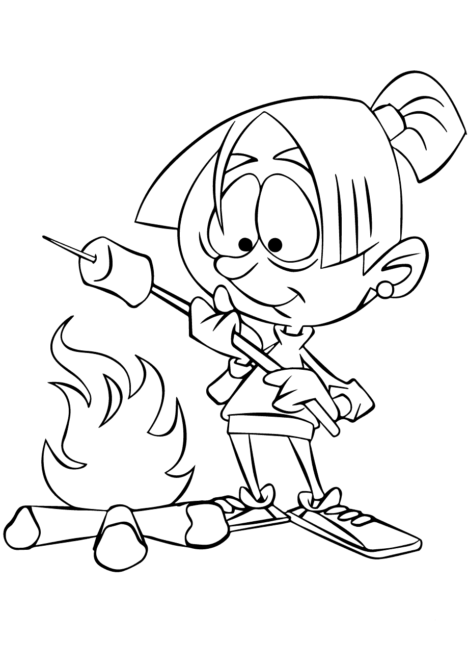 Roasting Marshmallows Camping Coloring Page