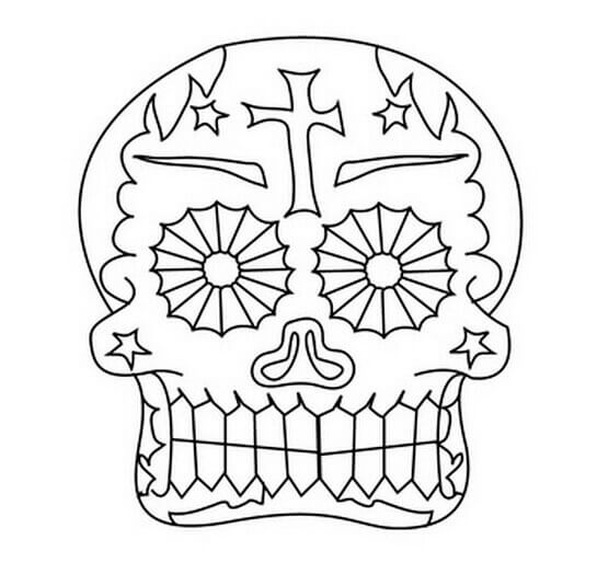 Free printable day of the dead coloring pages for Simple sugar skull coloring pages