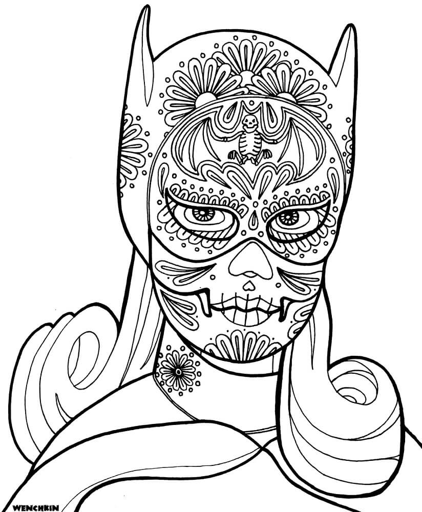 Bat Girl Sugar Skull Coloring Page