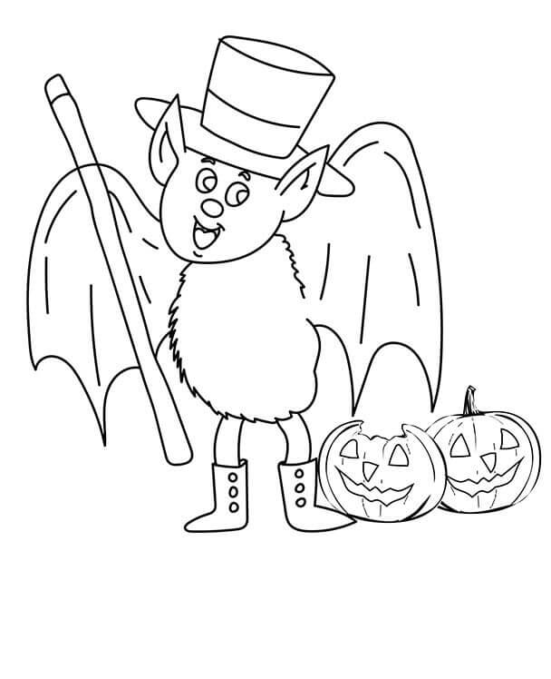 Bat With Jack O Lantern Coloring Page