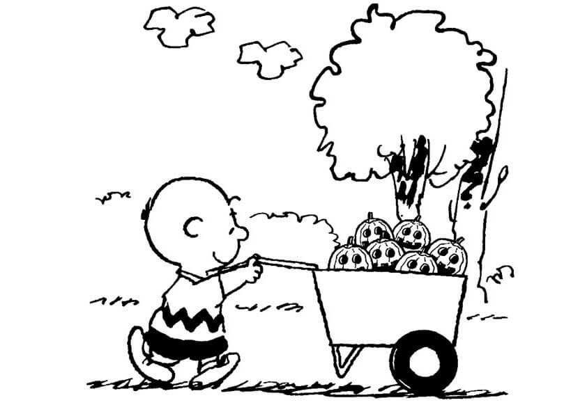 Charlie Brown With Pumpkins Coloring Page