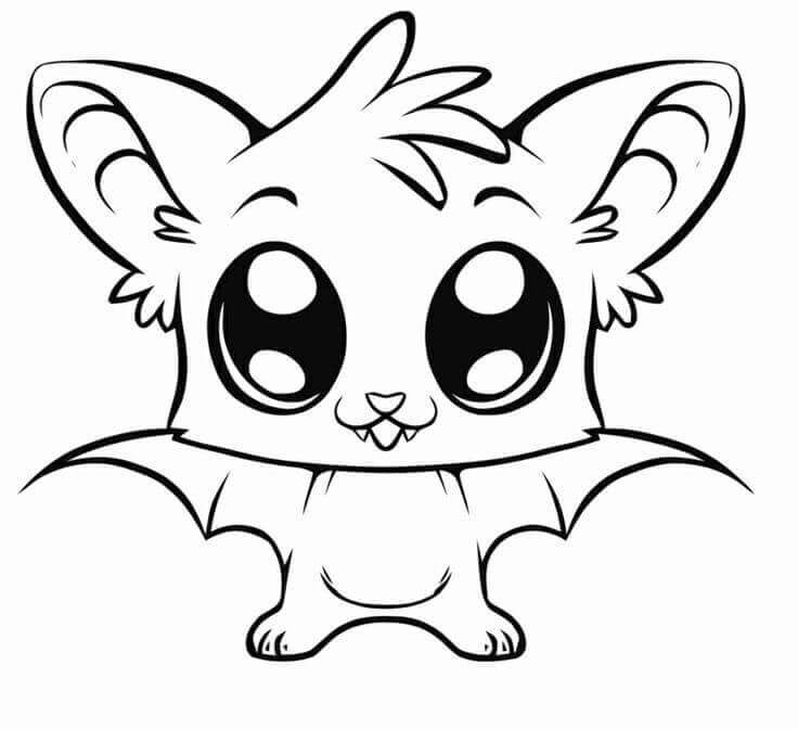 Cute Animal Bat Coloring Pages
