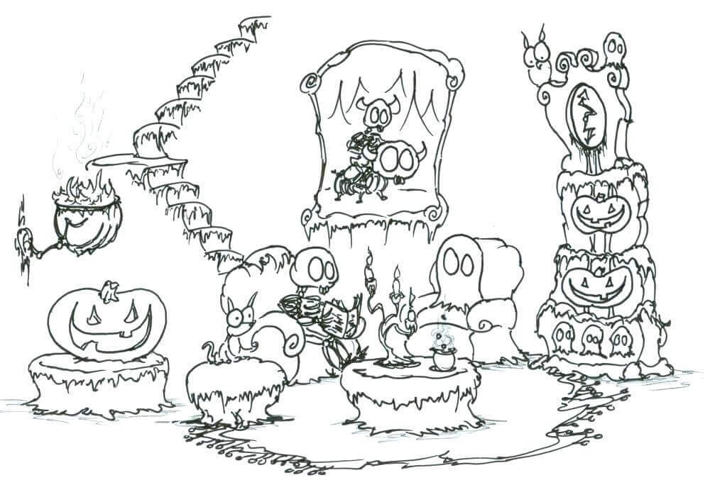 Detailed Haunted House Coloring Sheets