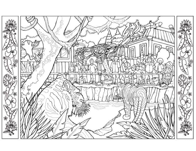 Detailed Zoo Coloring Page