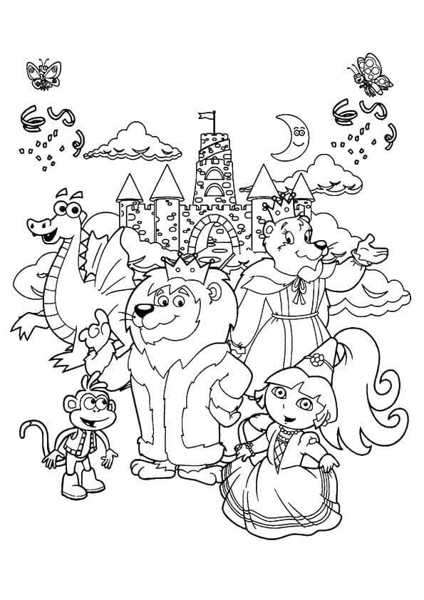 Dora With Zoo Animal Coloring Page