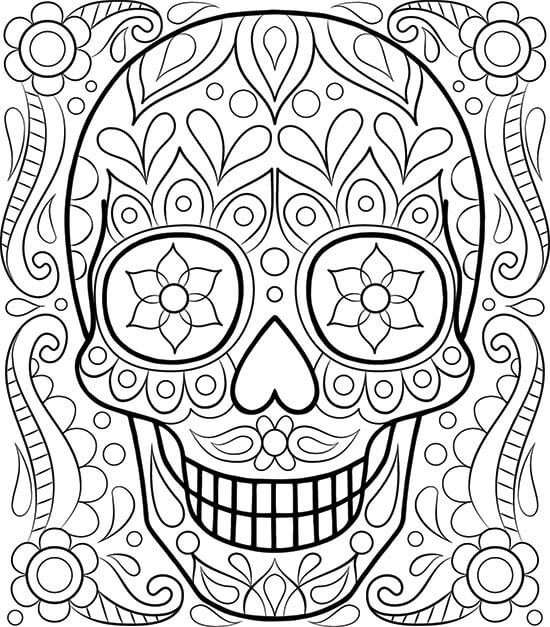 Easy Sugar Skull Coloring Pages