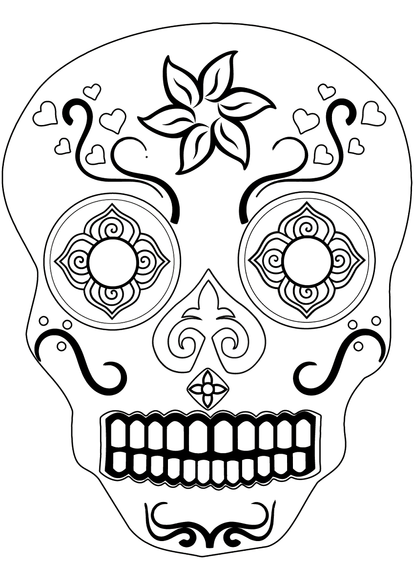 Easy Sugar Skull Coloring Sheets